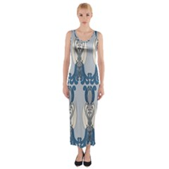 Flower Floral Leaf Beauty Art Fitted Maxi Dress