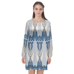 Flower Floral Leaf Beauty Art Long Sleeve Chiffon Shift Dress