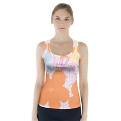 Flower Sunflower Floral Pink Orange Beauty Blue Yellow Racer Back Sports Top