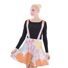 Flower Sunflower Floral Pink Orange Beauty Blue Yellow Suspender Skater Skirt by Mariart