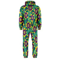 Discrete State Turing Pattern Polka Dots Green Purple Yellow Rainbow Sexy Beauty Hooded Jumpsuit (men)  by Mariart