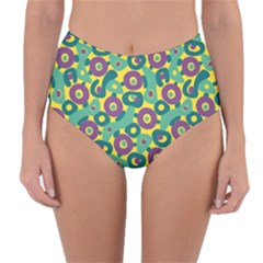 Discrete State Turing Pattern Polka Dots Green Purple Yellow Rainbow Sexy Beauty Reversible High Waist Bikini Bottoms