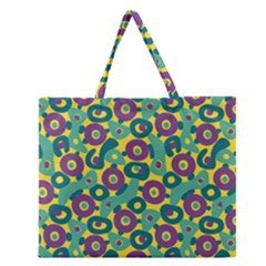 Discrete State Turing Pattern Polka Dots Green Purple Yellow Rainbow Sexy Beauty Zipper Large Tote Bag by Mariart