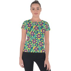 Discrete State Turing Pattern Polka Dots Green Purple Yellow Rainbow Sexy Beauty Short Sleeve Sports Top  by Mariart