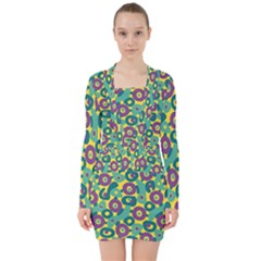 Discrete State Turing Pattern Polka Dots Green Purple Yellow Rainbow Sexy Beauty V Neck Bodycon Long Sleeve Dress