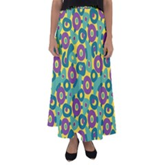 Discrete State Turing Pattern Polka Dots Green Purple Yellow Rainbow Sexy Beauty Flared Maxi Skirt