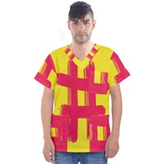 Fun Ain t Gone Fence Sign Red Yellow Flag Men s V Neck Scrub Top