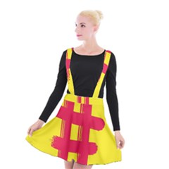 Fun Ain t Gone Fence Sign Red Yellow Flag Suspender Skater Skirt by Mariart