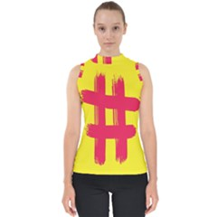 Fun Ain t Gone Fence Sign Red Yellow Flag Shell Top by Mariart