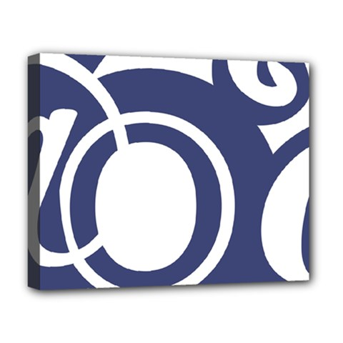 Garamond Blue White Wave Chevron Deluxe Canvas 20  X 16   by Mariart