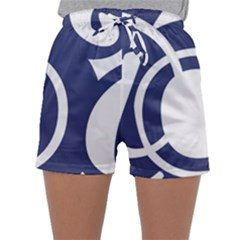 Garamond Blue White Wave Chevron Sleepwear Shorts