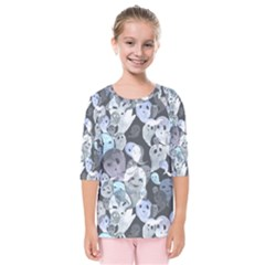 Ghosts Blue Sinister Helloween Face Mask Kids  Quarter Sleeve Raglan Tee