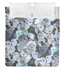 Ghosts Blue Sinister Helloween Face Mask Duvet Cover Double Side (queen Size) by Mariart