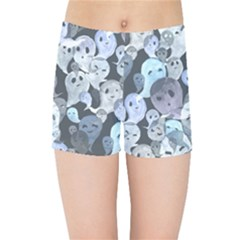 Ghosts Blue Sinister Helloween Face Mask Kids Sports Shorts by Mariart