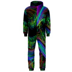 Aurora Wave Colorful Space Line Light Neon Visual Cortex Plate Hooded Jumpsuit (men)  by Mariart