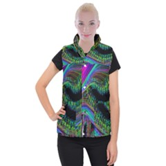 Aurora Wave Colorful Space Line Light Neon Visual Cortex Plate Women s Button Up Puffer Vest by Mariart