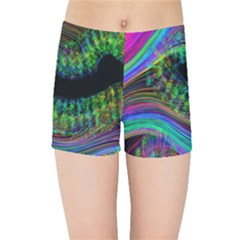 Aurora Wave Colorful Space Line Light Neon Visual Cortex Plate Kids Sports Shorts