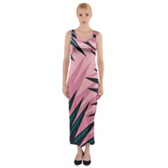 Graciela Detail Petticoat Palm Pink Green Fitted Maxi Dress