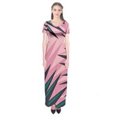 Graciela Detail Petticoat Palm Pink Green Short Sleeve Maxi Dress