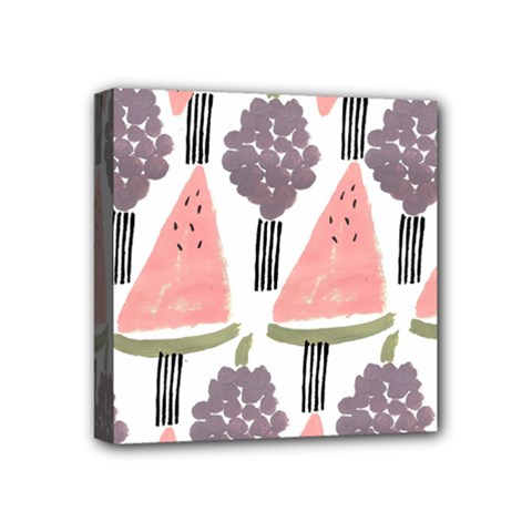 Grapes Watermelon Fruit Patterns Bouffants Broken Hearts Mini Canvas 4  X 4  by Mariart