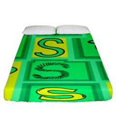 Letter Huruf S Sign Green Yellow Fitted Sheet (king Size) by Mariart