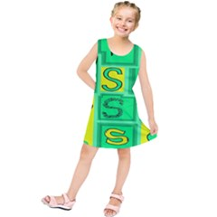 Letter Huruf S Sign Green Yellow Kids  Tunic Dress