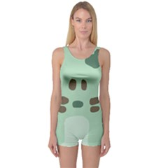 Lineless Background For Minty Wildlife Monster One Piece Boyleg Swimsuit by Mariart