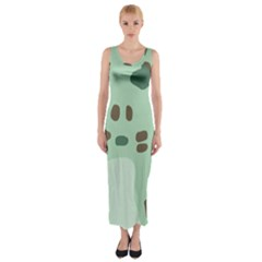 Lineless Background For Minty Wildlife Monster Fitted Maxi Dress