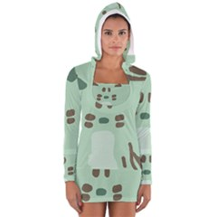 Lineless Background For Minty Wildlife Monster Long Sleeve Hooded T-shirt by Mariart