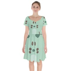 Lineless Background For Minty Wildlife Monster Short Sleeve Bardot Dress by Mariart