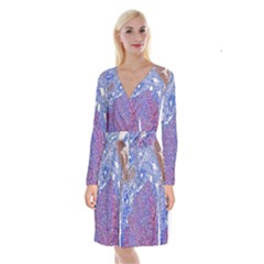 Histology Inc Histo Logistics Incorporated Human Liver Rhodanine Stain Copper Long Sleeve Velvet Front Wrap Dress