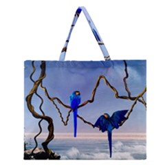 Wonderful Blue  Parrot Looking To The Ocean Zipper Large Tote Bag by FantasyWorld7