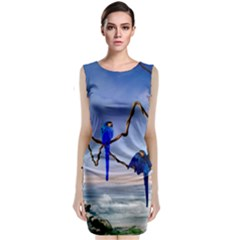 Wonderful Blue  Parrot Looking To The Ocean Classic Sleeveless Midi Dress by FantasyWorld7
