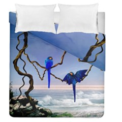 Wonderful Blue  Parrot Looking To The Ocean Duvet Cover Double Side (queen Size) by FantasyWorld7