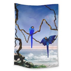 Wonderful Blue  Parrot Looking To The Ocean Large Tapestry by FantasyWorld7