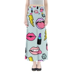 Lipstick Lips Heart Valentine Star Lightning Beauty Sexy Full Length Maxi Skirt by Mariart