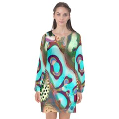 Multiscale Turing Pattern Recursive Coupled Stone Rainbow Long Sleeve Chiffon Shift Dress  by Mariart
