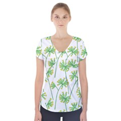Marimekko Fabric Flower Floral Leaf Short Sleeve Front Detail Top by Mariart
