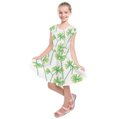 Marimekko Fabric Flower Floral Leaf Kids  Short Sleeve Dress by Mariart