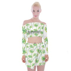 Marimekko Fabric Flower Floral Leaf Off Shoulder Top With Skirt Set by Mariart