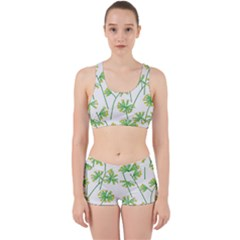 Marimekko Fabric Flower Floral Leaf Work It Out Sports Bra Set by Mariart