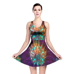 Live Green Brain Goniastrea Underwater Corals Consist Small Reversible Skater Dress