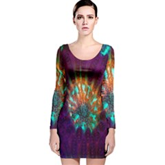 Live Green Brain Goniastrea Underwater Corals Consist Small Long Sleeve Velvet Bodycon Dress by Mariart