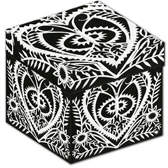 Paper Cut Butterflies Black White Storage Stool 12   by Mariart