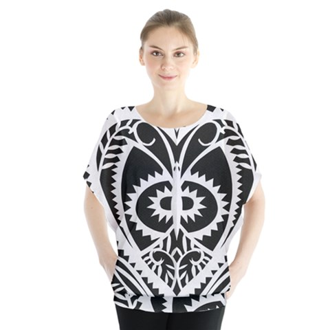 Paper Cut Butterflies Black White Blouse by Mariart