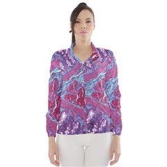 Natural Stone Red Blue Space Explore Medical Illustration Alternative Wind Breaker (women)