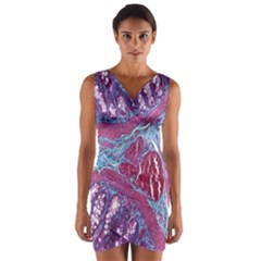 Natural Stone Red Blue Space Explore Medical Illustration Alternative Wrap Front Bodycon Dress