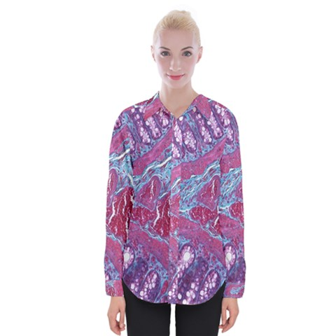 Natural Stone Red Blue Space Explore Medical Illustration Alternative Womens Long Sleeve Shirt by Mariart