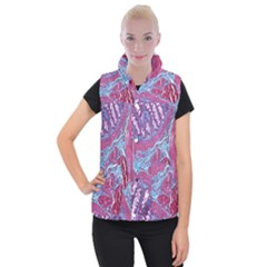 Natural Stone Red Blue Space Explore Medical Illustration Alternative Women s Button Up Puffer Vest