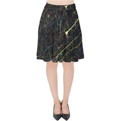 Neurons Light Neon Net Velvet High Waist Skirt by Mariart